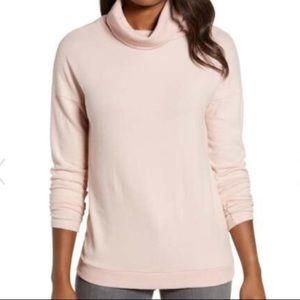 NWT Gibson Pink Layered Back Turtleneck Sweater